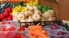 Fruit & Veg Stall, Panning Shot Stock Footage