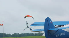 Moto paraglider on airshow - stock footage