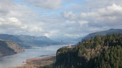 Time Lapse of Moving Clouds Over Columbia River Gorge with view of Crown Point Stock Footage