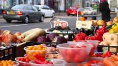 Panning Shot of Fruit & Veg Stall in Stokes Croft, Bristol Stock Footage