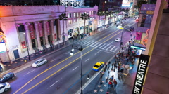 Hollywood Boulevard at Night Timelapse Stock Footage