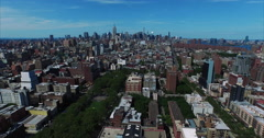 NYC Aerial Shot Flying Past Central Park Going Downtown - stock footage