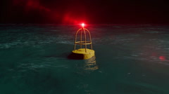 Danger Buoy. a buoy floats and spins in open water. Stock Footage