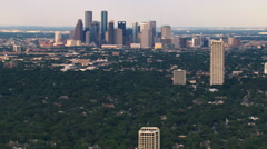 River Oaks neighborhood with skyscrapers in background. Shot in 2007. Stock Footage