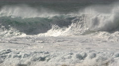 Foaming surf ahead of turbulent waves Stock Footage