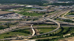 Highway interchange south of Ft. Worth, Texas. Shot in 2007. - stock footage