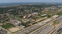 Mid-island flight over Galveston Island, Texas. Shot in 2007. Stock Footage
