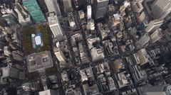 Flying over Midtown Manhattan, Rockefeller Center at left. Shot in 2011. Stock Footage