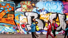Graffiti / Street Art in Stoke Croft, Bristol UK - stock footage