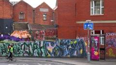 Graffiti / Street Art in Stoke Croft, Bristol UK Stock Footage