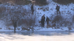Police officers and find body of missing woman in possible crime scene Stock Footage