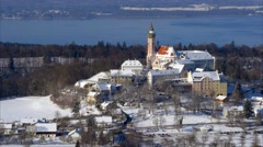 Andechs Monastery in Winter Landscape, Bavaria, Germany Stock Footage