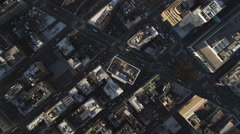 Flying west over Herald Square in Midtown Manhattan; zoom-in on Broadway and Stock Footage