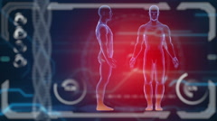 Scanner human body. Futuristic medical hud monitor. Medical concept future Stock Footage