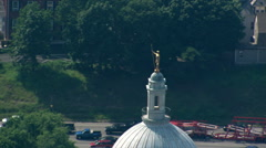 High flight past Rhode Island Capitol building in Providence. Shot in 2003. Stock Footage