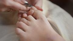 Woman Getting A Pedicure In Salon Stock Footage