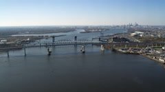 Aerial view of the Delaware River at the Betsy Ross Bridge with Philadelphia in Stock Footage