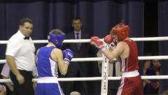 Boys compete in boxing - stock footage