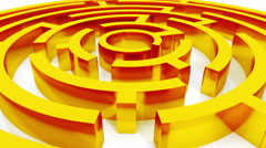 4k rotating golden metal maze,abstract business & tech background. Stock Footage