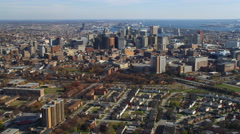 Aerial orbiting view of Baltimore, MD. Shot in 2011. - stock footage