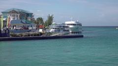Grand Cayman marina shore boats Caribbean HD Stock Footage