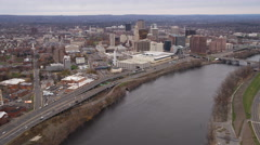 Aerial approach to Hartford, CT from Connecticut River and Founder's Bridge. Stock Footage