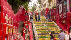 Selaron Stairway at Rio de Janeiro. Time lapse. Zoom out. - stock footage