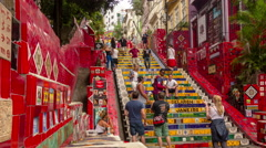 Selaron Stairway at Rio de Janeiro. Time lapse. Zoom in. Stock Footage