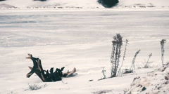 Frozen Lake during Winter Time. Stock Footage