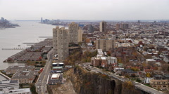 Aerial view following the coast of the Hudson south from Guttenberg, NJ. Shot in Stock Footage