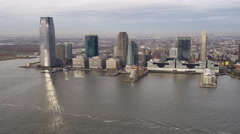 Aerial view of Jersey City from over the Hudson River. Shot in 2011. Stock Footage