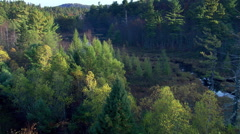 Low flight along meandering Maine river - stock footage