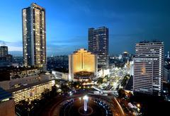 Jakarta city at night Stock Photos