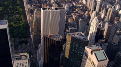 Flight looking east from Fifth Avenue near Central Park. Shot in 2006. - stock footage