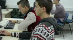 Students group in computer lab classroom Stock Footage