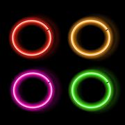 Set neon sings. Glowing frame. Vector Illustration - stock illustration