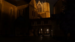 4k Nightshot medieval dome cathedral tilt up shot Braunschweig city Stock Footage