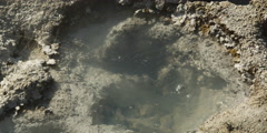 Close-up bubbling vent surrounded by mineral deposits Stock Footage