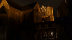 4k Nightshot medieval dome cathedral panning shot Braunschweig city Stock Footage