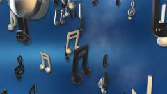 Spinning musical notes background Stock Footage