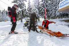 Mountain rescue service - stock photo