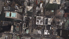 Steep look down onto buildings and streets of Midtown Manhattan. Shot in 2011. Stock Footage