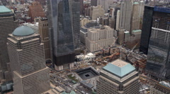 Flying above Ground Zero in Lower Manhattan Financial District. Shot in 2011. Stock Footage
