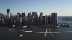 Flying over the Hudson toward Financial District, turning toward East River and Stock Footage
