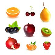 Fresh fruits on white Stock Illustration