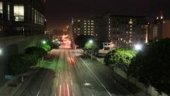 4th St & Olive St in Los Angeles at night Stock Footage