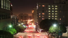 Los Angeles downtown streets at night Stock Footage