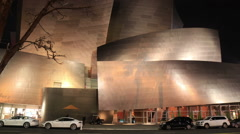 Walt Disney Concert Hall in Los Angeles at Night Stock Footage