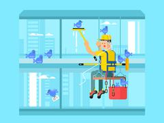 Industrial mountaineering concept - stock illustration