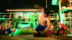 Phu Thai people boxing and dancing phu thai style show traveller Stock Footage